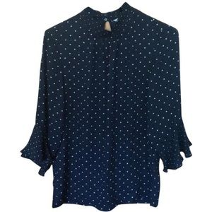 H&M navy blouse with white polka dots